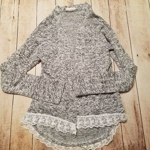 Girls lace trim cardigan sweater size 8
